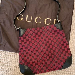 Gucci Leather Trim Medium Red Canvas Hobo Bag